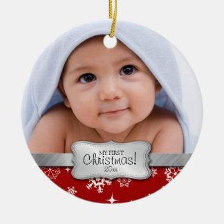 El 1r navidad del bebé.  Añada su foto Adorno Navideño Redondo De Cerámica