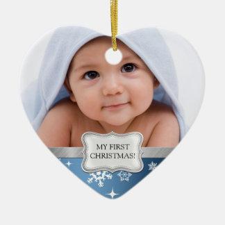El 1r navidad del bebé.  Añada su foto Adorno De Cerámica En Forma De Corazón