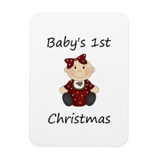 El 1r navidad del bebé (chica) imán