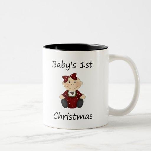 El 1r navidad del bebé (chica) taza dos tonos