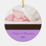 El 1r navidad del bebé - cinta (lavanda) adorno de navidad