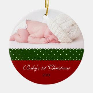 El 1r navidad del bebé - cinta (roja) adornos de navidad