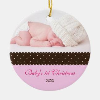 El 1r navidad del bebé - cinta (rosa) ornamento para arbol de navidad