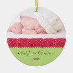 El 1r navidad del bebé - cinta (verde 2) ornamente de reyes