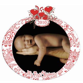 El 1r navidad del bebé adorno fotoescultura