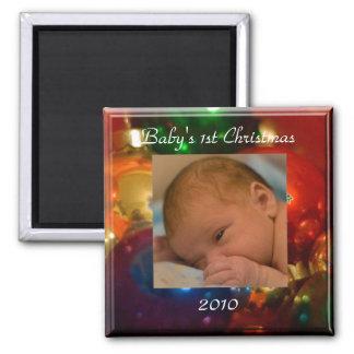 el 1r navidad del bebé imán cuadrado