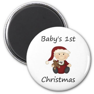 El 1r navidad del bebé muchacho imanes de nevera