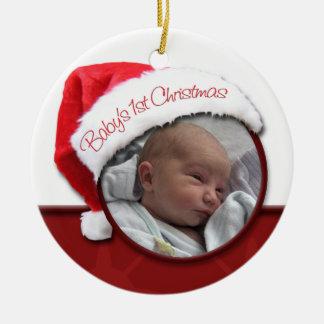 El 1r navidad del bebé - ornamento de la foto del  ornamento para reyes magos
