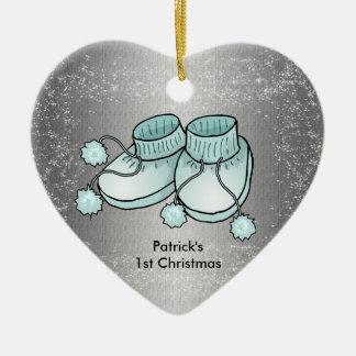 El 1r navidad del bebé - ornamento en forma de adorno navideño de cerámica en forma de corazón