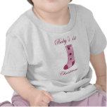 El 1r navidad del bebé rosado de la media camiseta