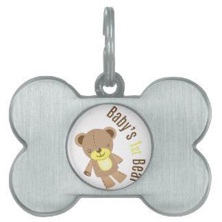 El 1r oso del bebé placas de mascota