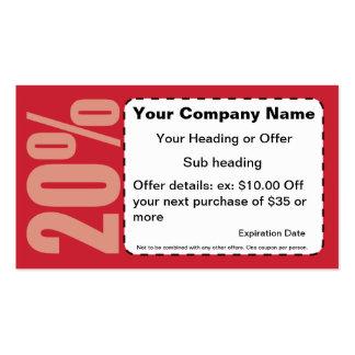El 20 de tarjeta de visita de la cupón