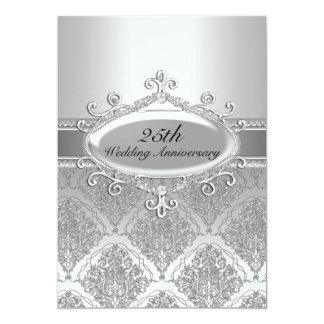 """El 25to aniversario de boda del damasco de plata invitación 5"""" x 7"""""""