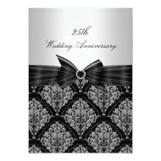 """El 25to aniversario del damasco y de boda del arco invitación 5"""" x 7"""""""