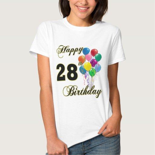 El 28vo cuarto cumpleaños feliz hincha la camiseta
