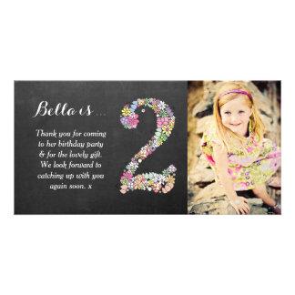 El 2do cumpleaños de los chicas floral le agradece tarjeta fotografica personalizada