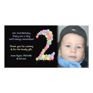 El 2do cumpleaños del muchacho o del chica le tarjeta fotográfica