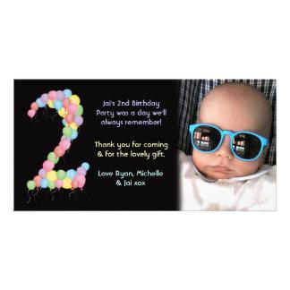 El 2do cumpleaños del muchacho o del chica le tarjeta fotografica