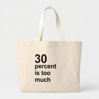 el 30 por ciento es demasiado bolsa tela grande