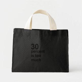 el 30 por ciento es demasiado bolsa tela pequeña