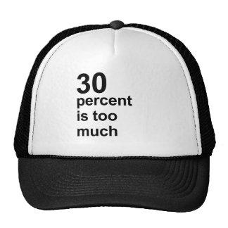 el 30 por ciento es demasiado gorras