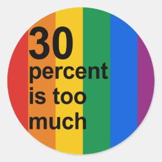 el 30 por ciento es demasiado pegatina