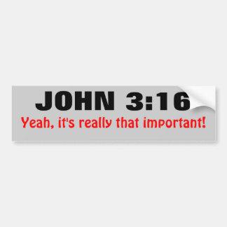 El 3:16 de Juan es importante Pegatina De Parachoque
