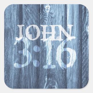 El 3 16 de Juan… para dios amó tan el mundo Calcomanias Cuadradas