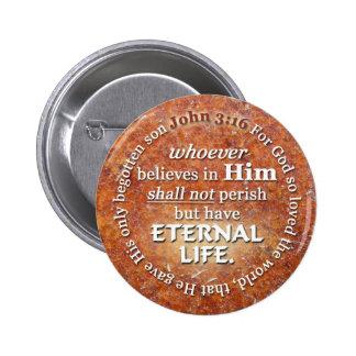 El 3:16 de Juan para dios amó tan el verso de la Pin Redondo De 2 Pulgadas