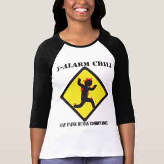 """El 3/4"""" de 5 de la alarma Ladie del chile camisa"""