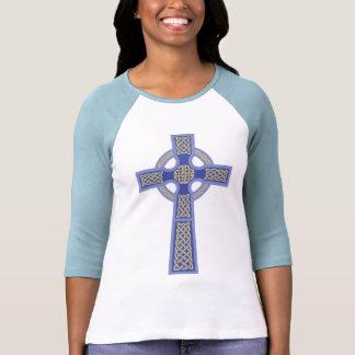 """El 3/4"""" de Ladie azul de la cruz céltica camisa de"""