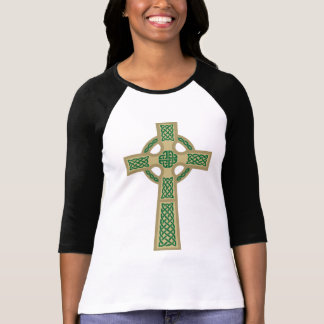 """El 3/4"""" de Ladie de la cruz céltica del oro camisa"""