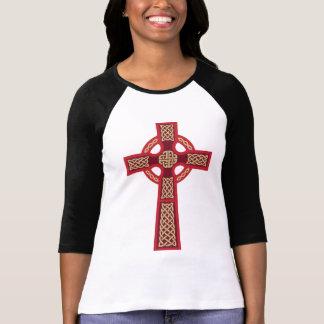 """El 3/4"""" de Ladie rojo de la cruz céltica camisa de"""