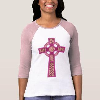 """El 3/4"""" de Ladie rosado de la cruz céltica camisa"""