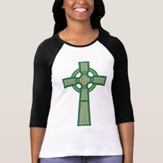 """El 3/4"""" de Ladie verde de la cruz céltica camisa d"""