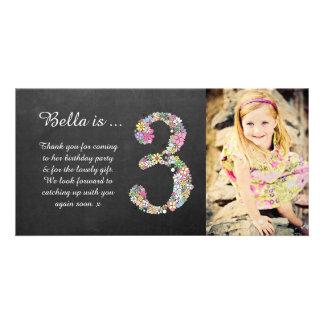 El 3ro cumpleaños de los chicas floral le agradece tarjetas fotográficas personalizadas