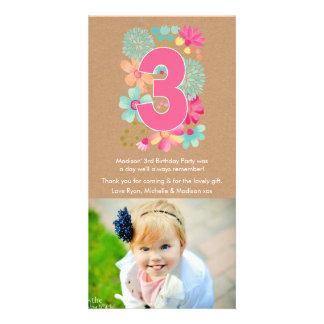 El 3ro cumpleaños número 3 de los chicas le tarjetas fotográficas