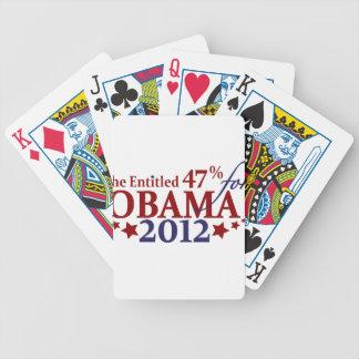 El 47% dado derecho para Obama 2012 Baraja De Cartas Bicycle