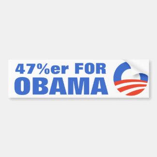 El 47 por ciento para Obama 2012 Pegatina Para Auto