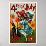 el 4 de julio - arte del vintage - poster