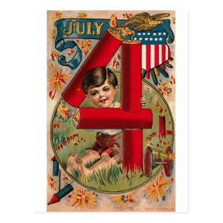 el 4 de julio - arte del vintage tarjetas postales