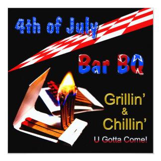 el 4 de julio - Bbq de la invitación