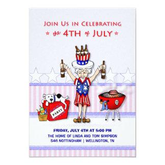 """el 4 de julio - Bbq del fiesta del tío Sam Invitación 5"""" X 7"""""""