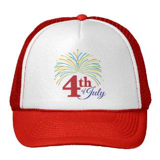 el 4 de julio con los fuegos artificiales colorido gorros bordados