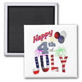 El 4 de julio, día de independencia imán cuadrado