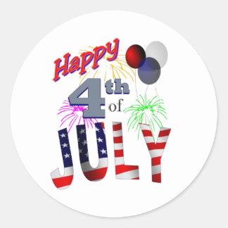 El 4 de julio día de independencia pegatinas redondas