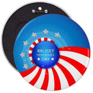 el 4 de julio, Día de la Independencia Pin Redondo 15 Cm