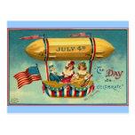 el 4 de julio - dirigible - arte del vintage tarjetas postales