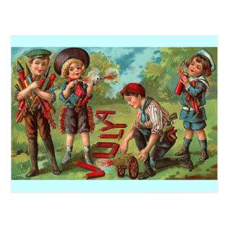 el 4 de julio - fuegos artificiales de los niños postales