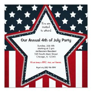 """el 4 de julio invitación 5.25"""" x 5.25"""""""